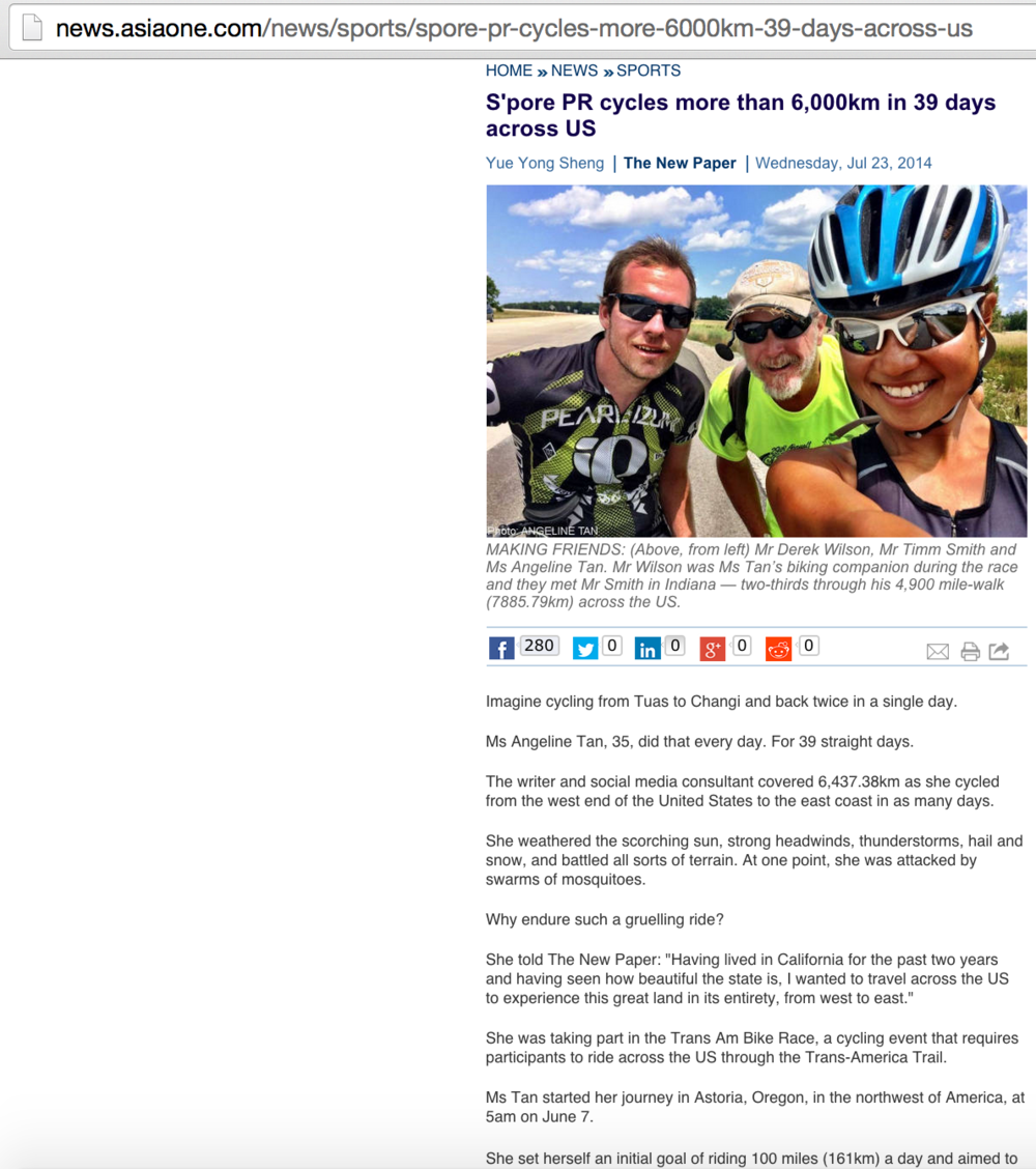 Jul 23, 2014: A day after I completed my record 4,000-mile cycling adventure across America in 39 days, I got on a two-hour call with a journalist from The New Paper in Singapore to talk about the euphoria and challenges of the ride. Here is the spill.