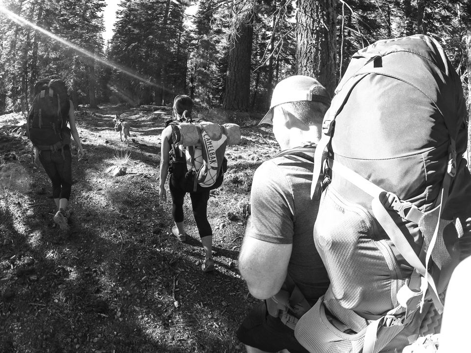 Photo credit: William Wilson. Equipment: GoPro Hero 3. Lugging our heavy packpacks and hiking several miles to our campground at Rock Lake in Tahoe National Forest.