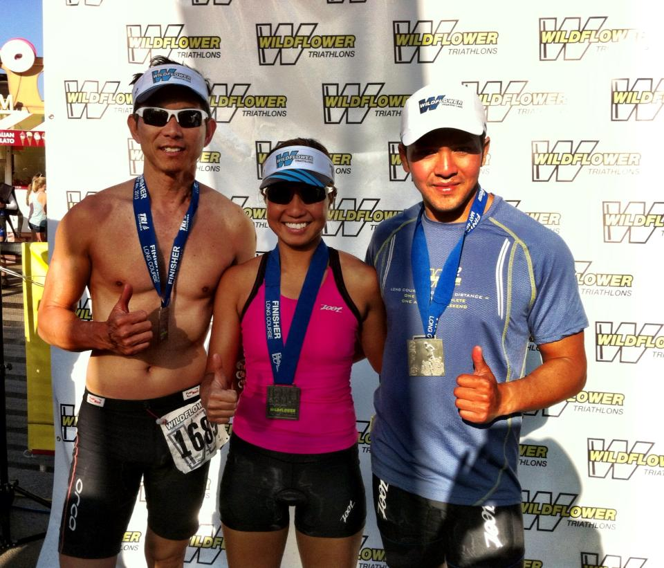 My first Wildflower Triathlon race in 2013. I had a blast then, training weekly with my triathlete friends Tom Vo (left) and Manly Danh (right), and racing together. I must say I am an extremely blessed girl. This first WildFlower race was also paid for. I don't have a lot of money, but angels like these good friends saw my love for the sport and sponsored the registration fee, transportation and accommodation. Three years later in 2016, another good friend, Joseph (pictured above) would also sponsor my race.