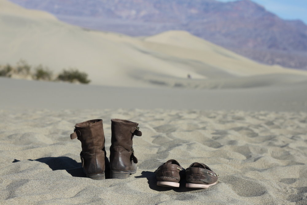 Picture taken in Death Valley, California. Left: my boots. Right: his shoes. We walk together.