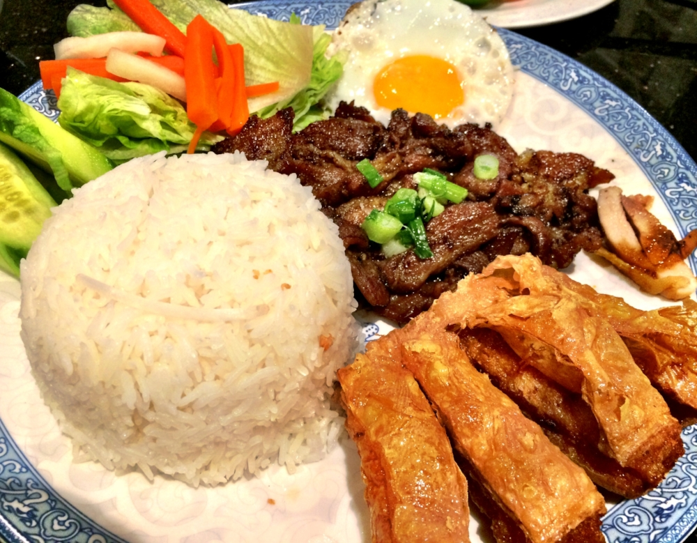 This is a standard Vietnamese rice plate made up of grilled meat, veggies, egg and shrimp cake. Disclaimer: I'm no saint and while I practice eating whole foods as much as possible, I have the occasional piece or two of processed food like the fried and processed shrimp cake here.