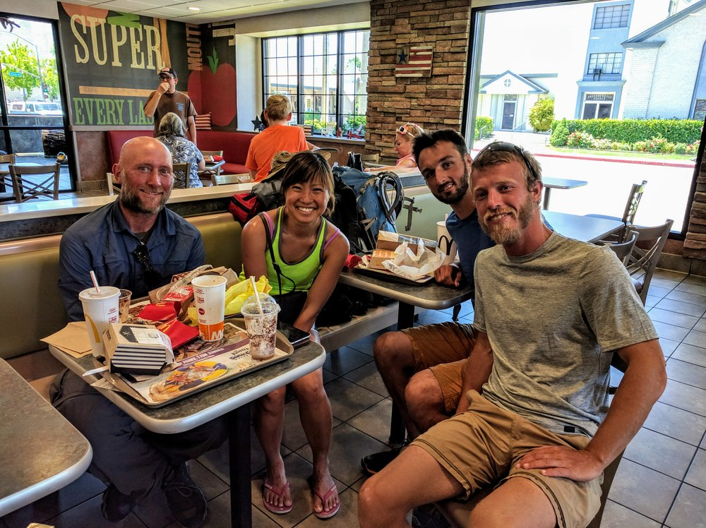 Left of pic, in blue: Justin, from Baltimore. Right of pic, in grey: Ben, from Germany. To Ben's right is Dan, an English.