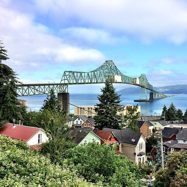 The Astoria-Megler Bridge is a steel cantilever bridge that spans the Columbia River. It was the last completed segment of U.S. Route 101 between Olympia, Washington, and Los Angeles, California and is the longest continuous truss bridge in North America. Pic credit: Angie
