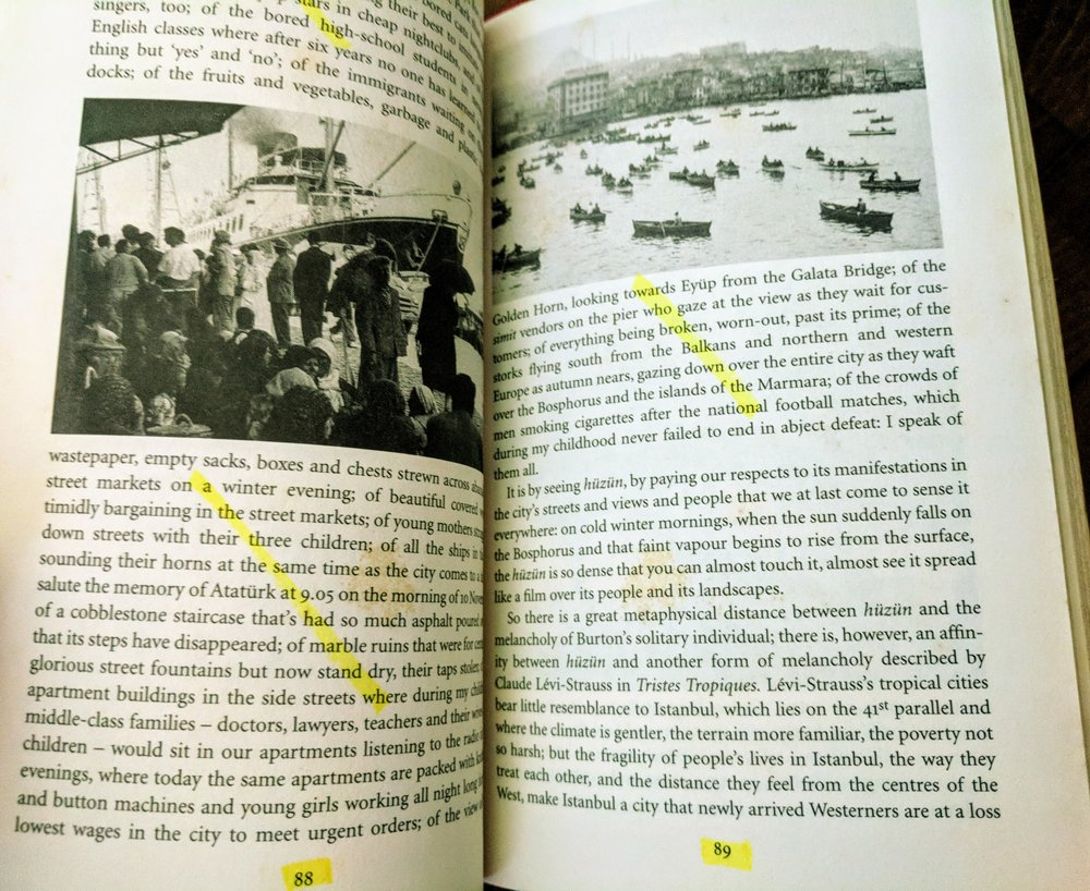 Pages from Orhan Pamuk's Istanbul, my enjoyment of which are evidenced in the highlights.