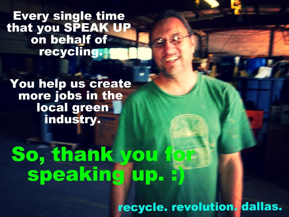 An estimated 86% of all U.S. jobs created from the management of discarded resources come from recycling activities... even though, as a nation, we recycle just 34% of our discards. (Photo credit, Recycle Revolution, 2013).