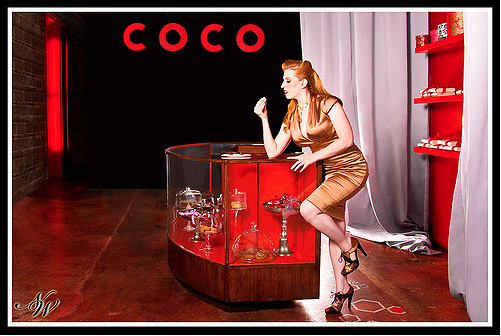 Heather Heins At Coco Rouge, Chicago  Art Director, Photographer, Lighting, Locations, Set Designer, Wardrobe, Post-Processing: Nicky Watts, Make Up Artist: Katelyn Westerman, Hair Stylist: Angelica Rivera @ Tigerlilie Salon, Chicago, Necklace: Fey & Company, Dress: Nicole Miller, Assistance: Dicky C, Jamilah Adebesin, Mike Mason  2008
