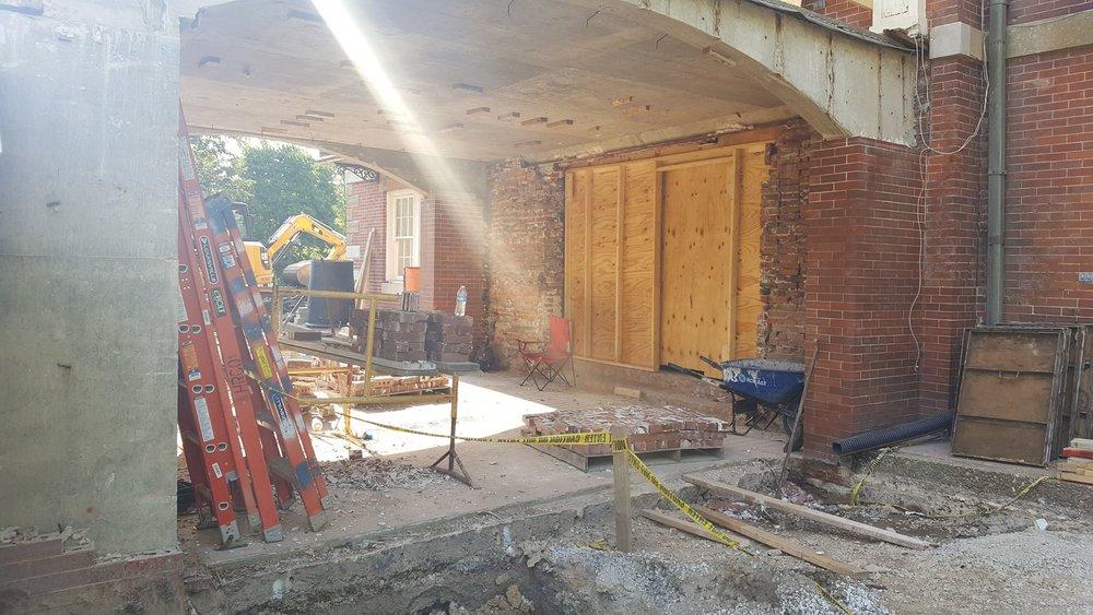 Masons are removing and salvaging brinck at North Entrance-min.jpg