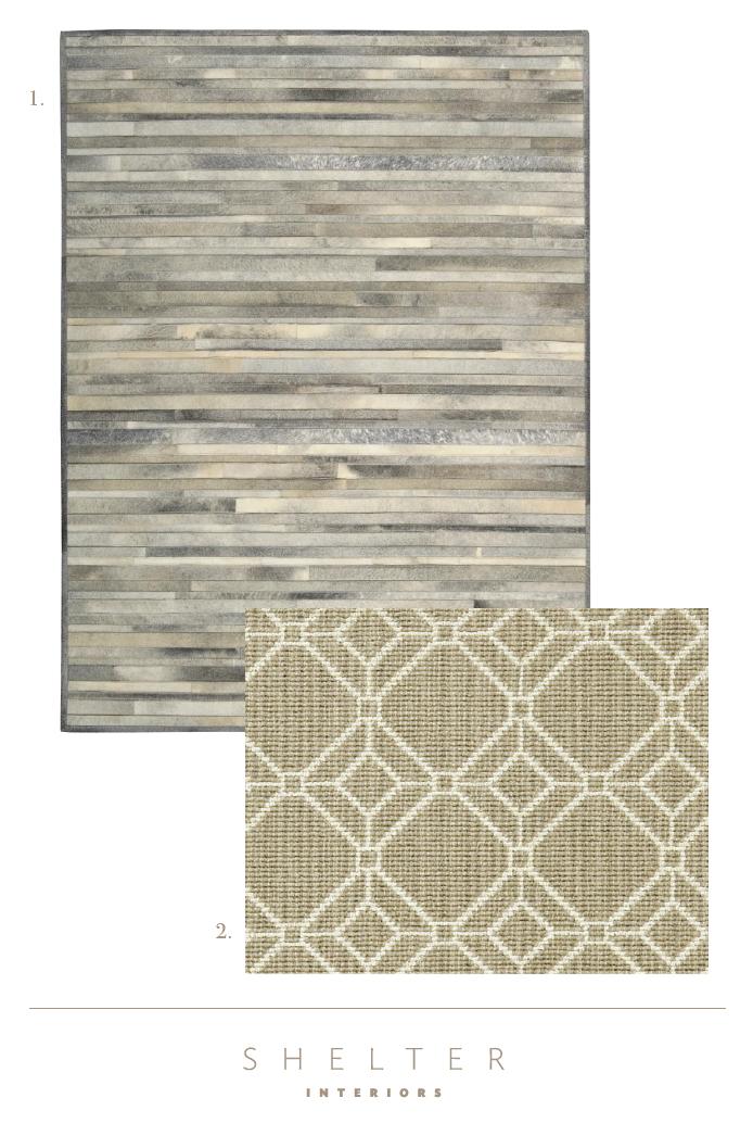 1.Calvin Klein | Raw Hide Rug - Prairie - Arctic Silver 2.Stark Carpets |Balara - Dune