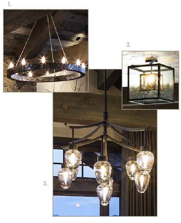 Custom Wrought Iron and Glass Light Fixtures   | Sourced from Ironglass Lighting |  1. Custom Ring Chandelier  2. Nested Cube Pendant  3. Custom Teardrop Chandelier