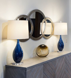 Custom Blue Glass Lamps   by Arteriors