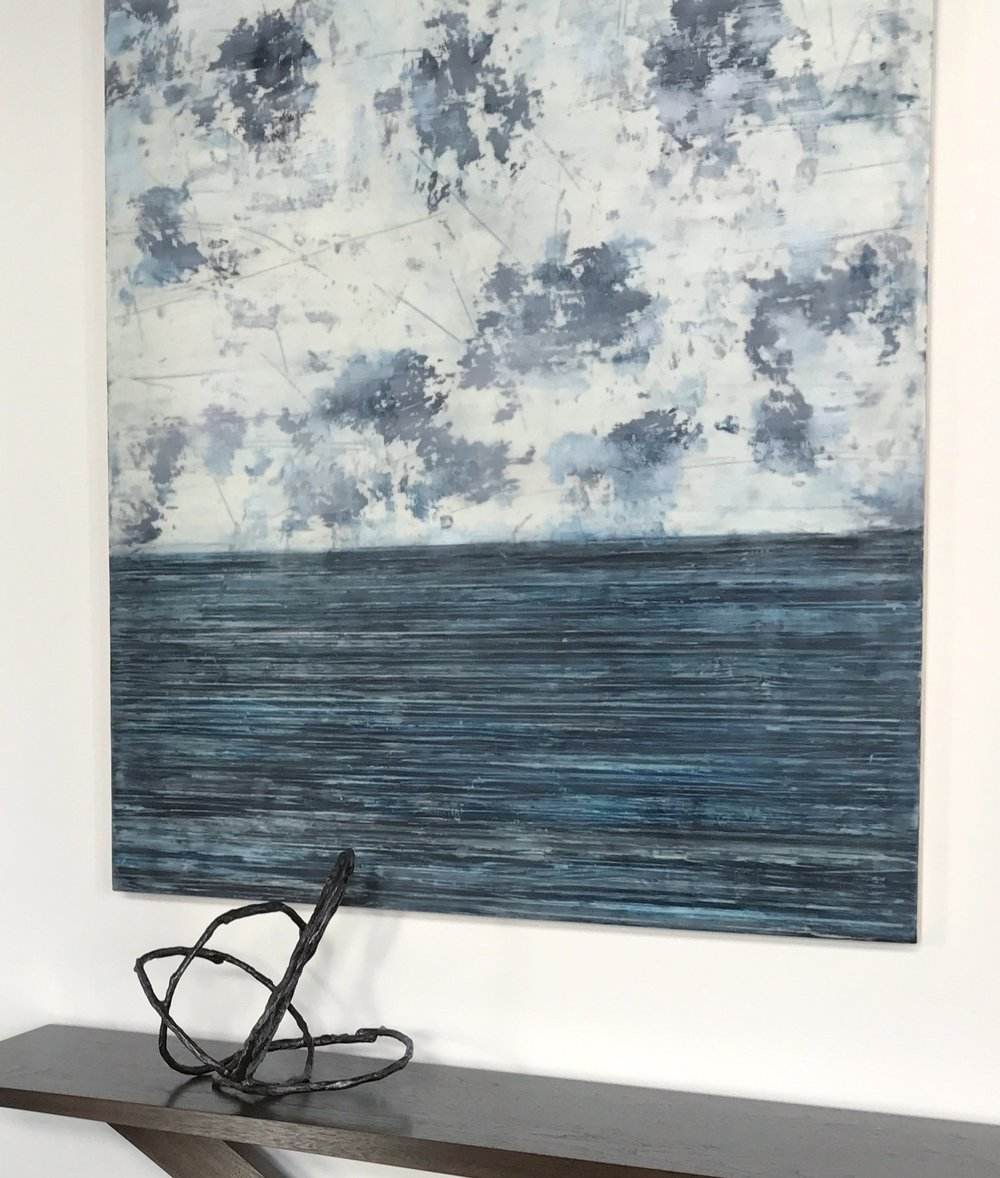 Blue/Grey Encaustic Wax Painting   by Shawna Moore  | Sourced from Gallatin River Gallery |