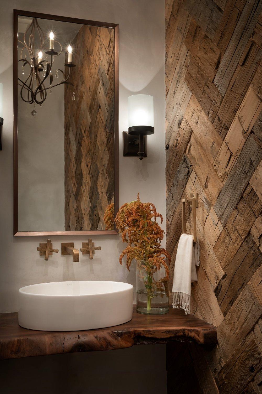 Hewn Herringbone Wood Wall   by LOHSS CONSTRUCTION