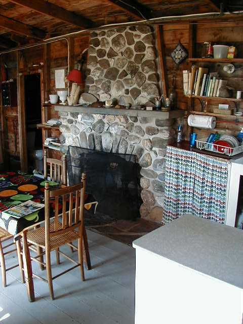 Fireplace in the Birchview Cottage
