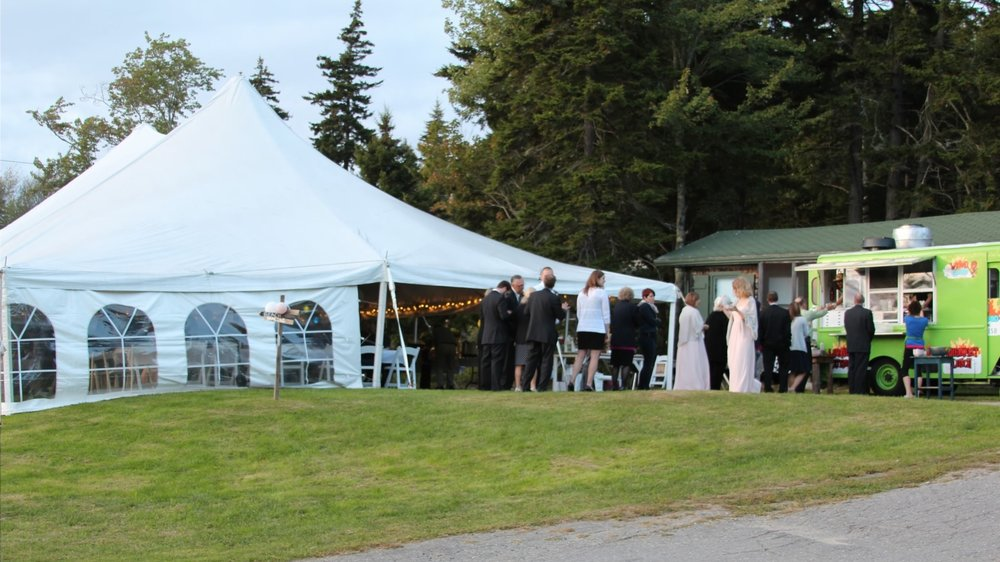 Reception by the ocean in September in Maine