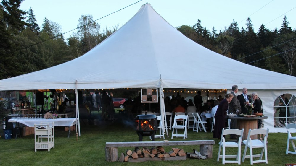 Wedding tent for reception at Flood's Cove