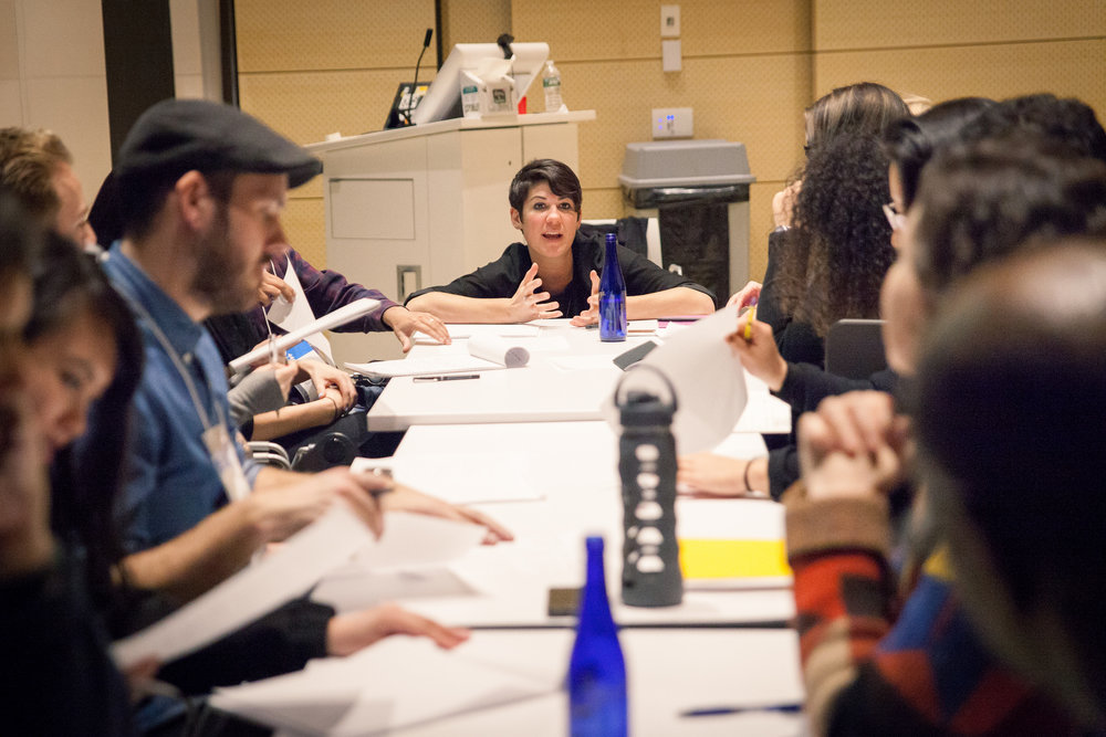 Leyla Acaroglu, running one of the exploration workshops during the develop period of the design for the toolkit (photo AIGA staff photographer)
