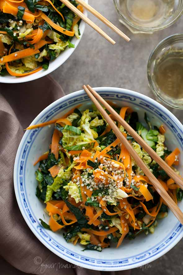 Kale & Napa Cabbage Salad w/Maple Vinagrette