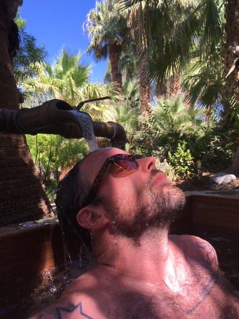 Adam living it up and soaking it in at a sweet resort in Palm Springs, California.
