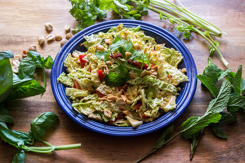 Savoy Cabbage Salad with Thai Basil Peanut Dressing