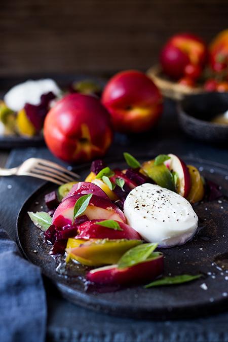 Beet, Tomato, Nectarine, & Burrata Salad
