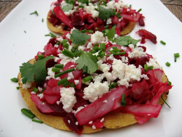 Guatemalan Beet & Cabbage Tostadas