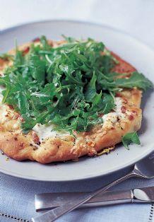 Arugula Pizza with Green Garlic Cream