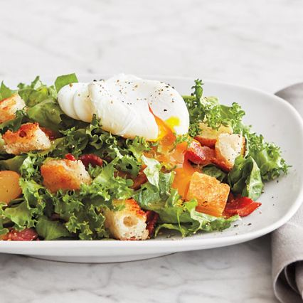 Frisee Salad with Bacon, Egg & Garlic Toasts