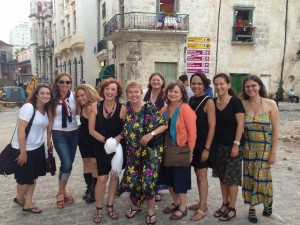 One of my favorite photos almost captures the whole group as we head out for an evening in Old Havana!