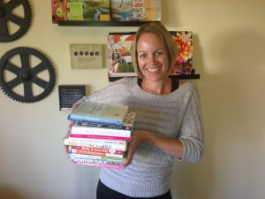 "Here I am with the wealth of books I selected to feature in this month's ""The Friendships You've Always Wanted!"" friendship course!"