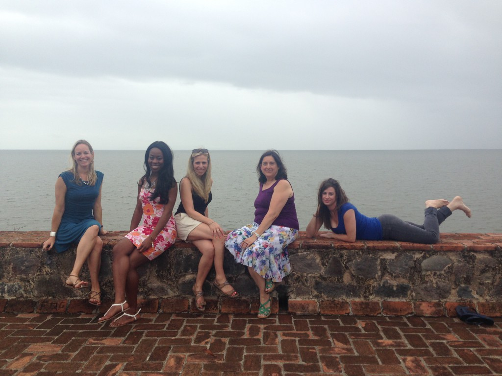 With Lake Nicaragua behind us, we pose for a quick moment before the rain soaked us!  :)