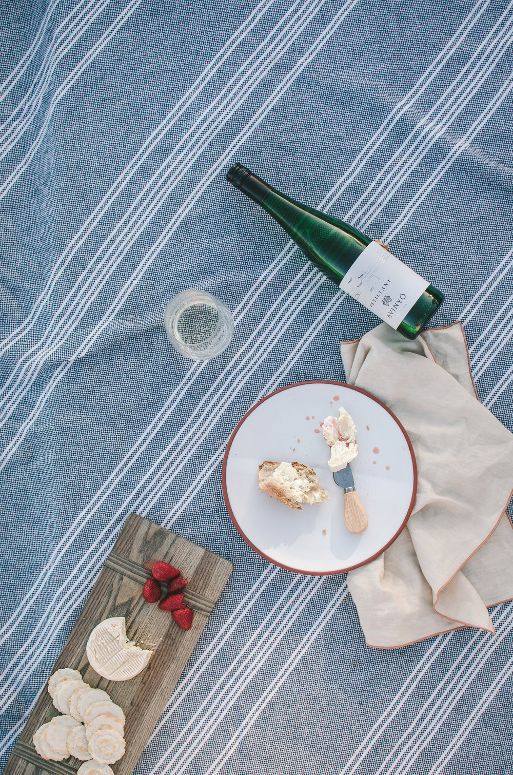 2. Light bodied sparkling white - At home, in the U.S., no cheeseboard is complete without a Vermont Creamery's cheese! This time, we paired their Cremont with one of our go-to summer wines, Avinyo's Petillant.Petillant is a vi d'agulla, the Catalan name for prickly wine, which means it has a very light tickle of a bubble. It's perfect for the hot summer days because it is low in alcohol, super fresh and spritzy and has beautiful notes of honeysuckle and citrus with a fresh minerality. Plus, that label is seriously the cutest, wouldn't a string of these bottles make a perfect centerpiece?!