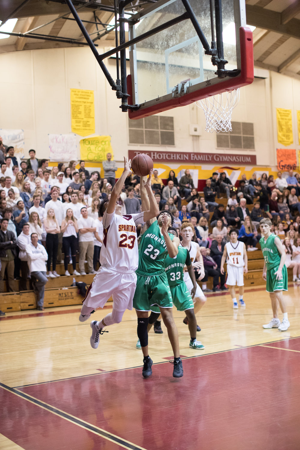 The Spartans host the Wildcats in a playoff game in the South Gym at La Canada High School.