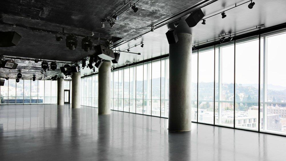 Ballroom with light coming through windows