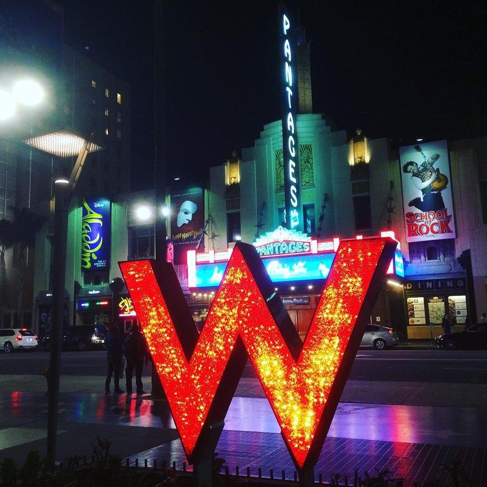 W Hollywood red W logo.
