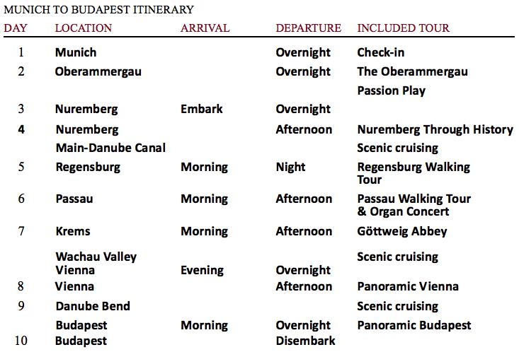 Viking River Cruises Passion Play Itinerary