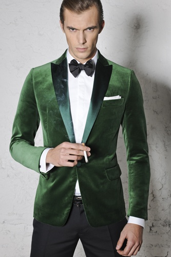 men's smoking Jacket in a subtle elegant hunter green velvet