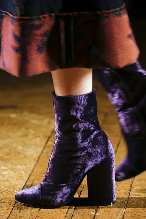 purple velvet shoes by Dries Van Noten