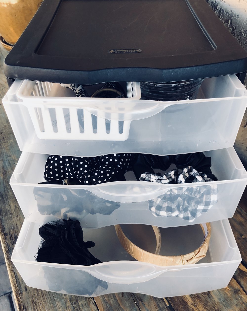 Sterilite- 3 Drawer Organizer - This three drawer option can also be stored under your sink if you don't want it visible. You can store headbands and hair ties. Add some smaller baskets, bowls or dividers to store smaller items like bobby pins and hair clips.
