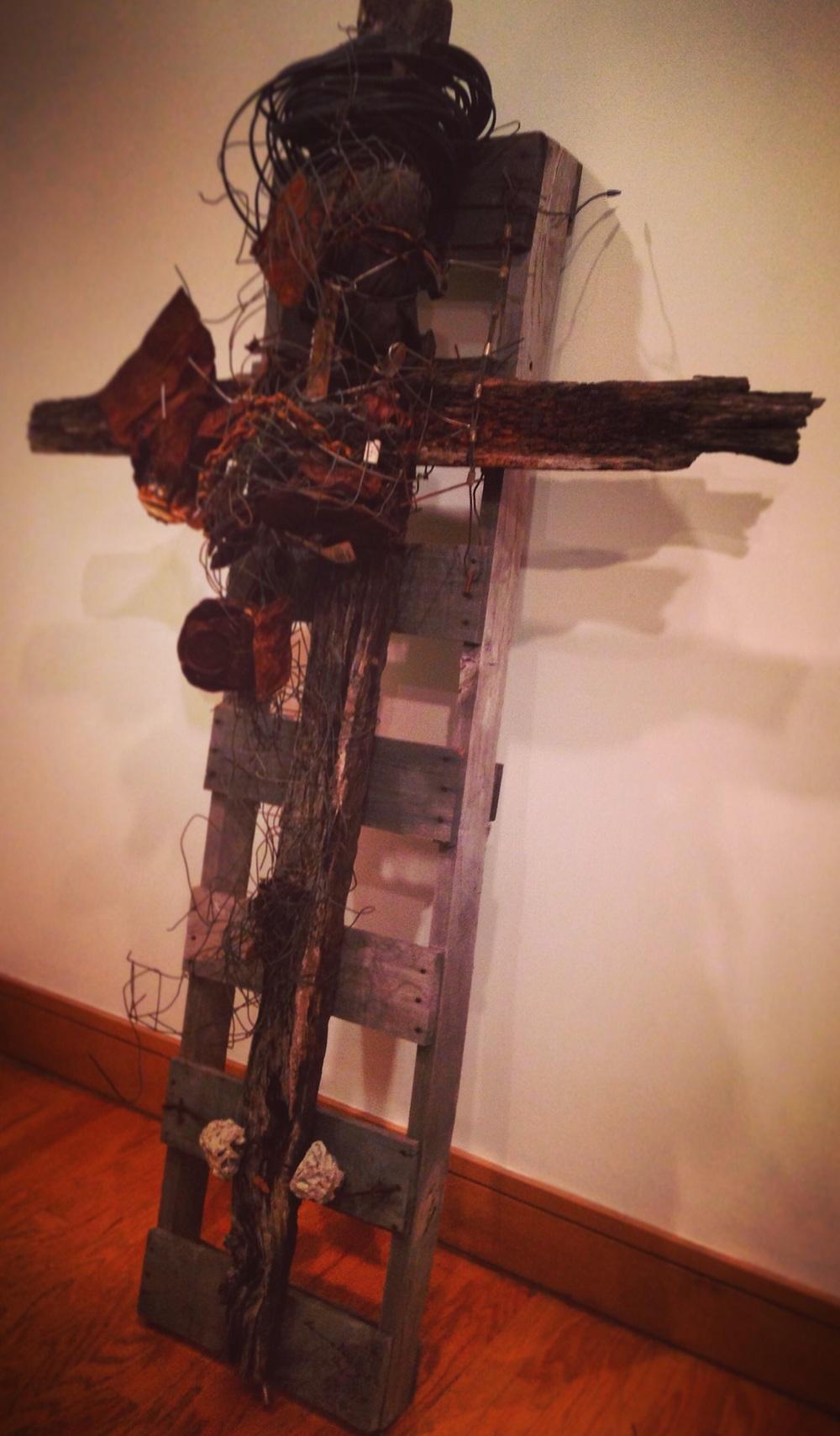 """Hungry Man's Cross"" (2006), Lonnie Holley, American (born 1950). Mixed media.  Birmingham Museum of Art."