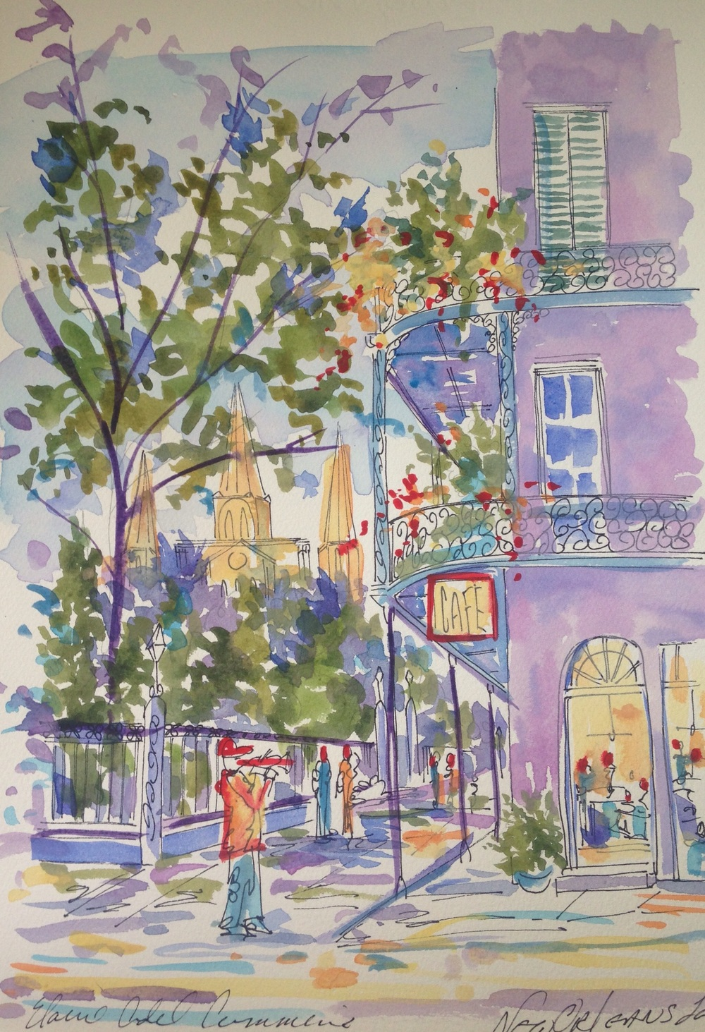 """New Orleans La"" (2016), Elaine Adel Cummins, American.  Watercolor."