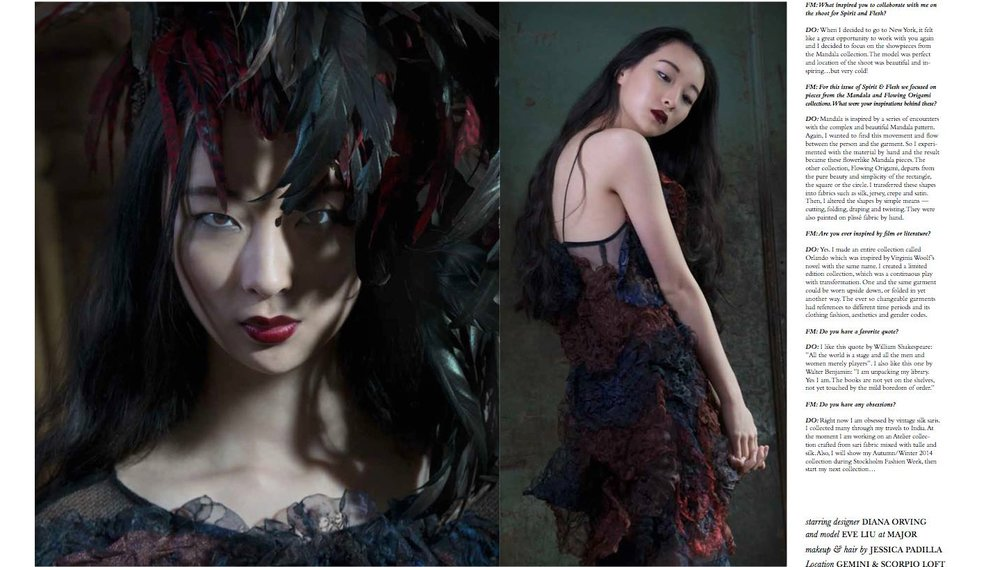 Spirit & Flesh Magazine  Photography / interview by Florence Montmare with Diana Orving for the story 'Hunger'