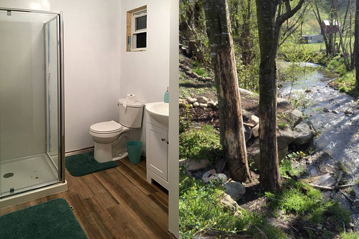 Full private bath in short walking distance from tiny house. Towels, organic soap, shampoo & conditioner provided.