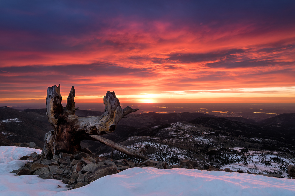 Gorgeous sunrise from Sugarloaf Mountain, Colorado