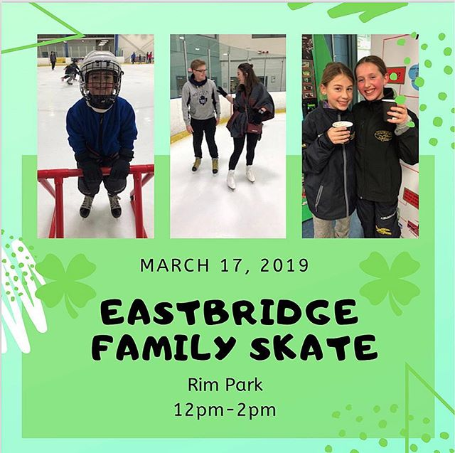 Mark your calendars! Come join the Eastbridge Neighbourhood Association this St.Patricks Day at Rim Park for a family skate 12pm-2pm🍀⛸