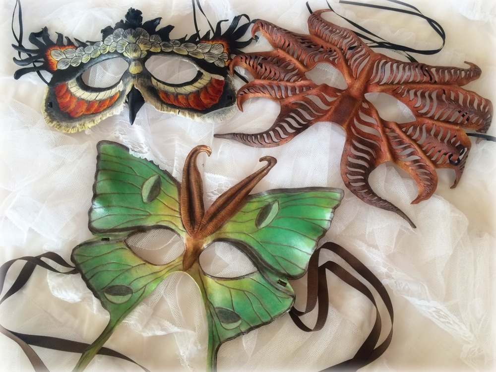 Luna Moth, Horned Owl, and Dragon masks from Charity of KoiDesignsArt