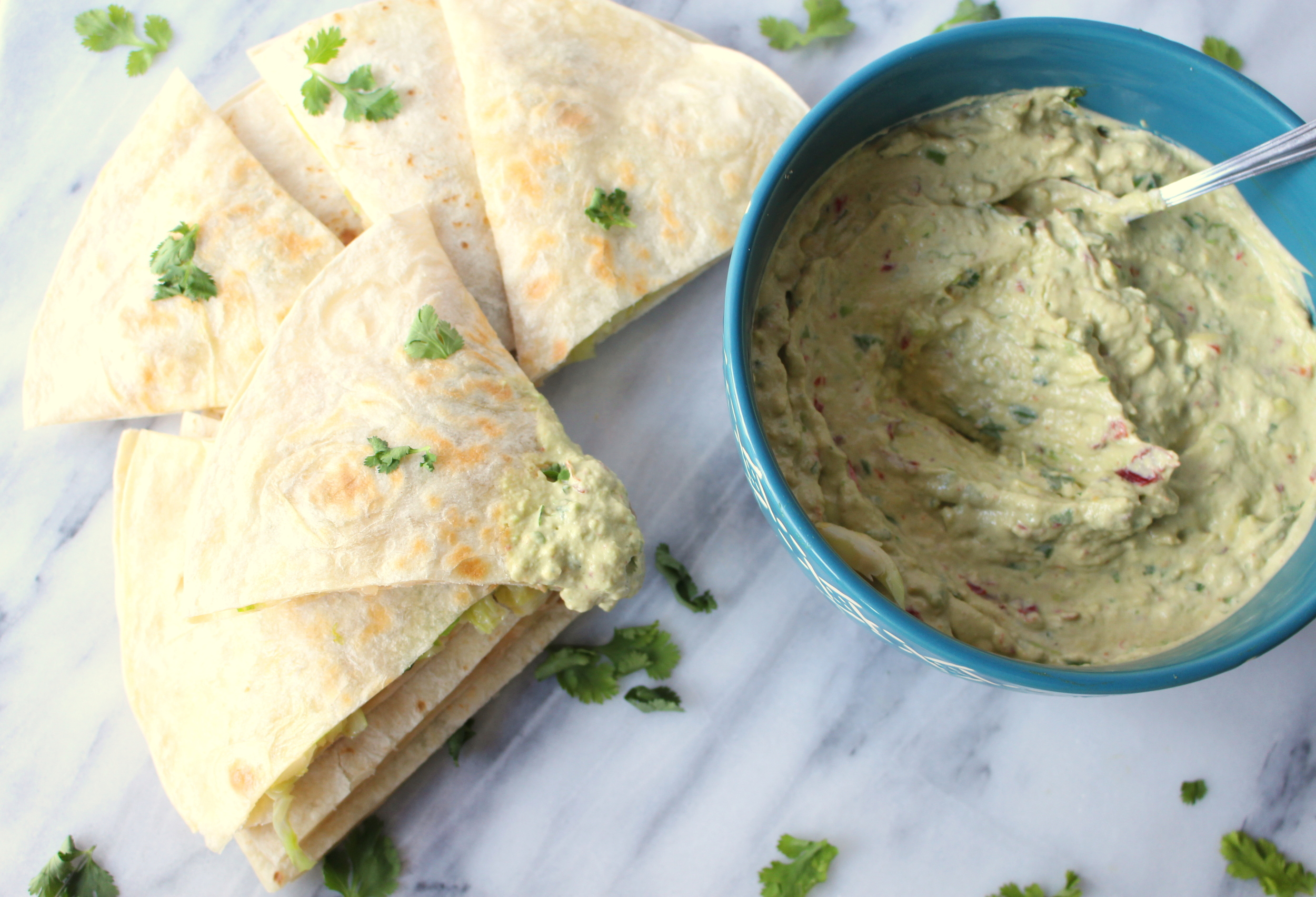 Brussels Sprouts and White Bean Quesadilla with Creamy Chipotle