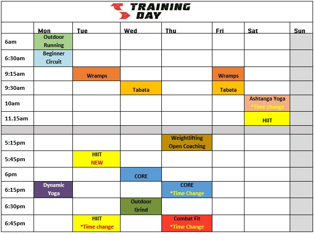 - NEW HIIT class on Tues 5:45pm  - Current Tues HIIT class moved slight later to 6:45pm  - Thurs CORE class now moved to 6:15pm  - Thurs Combat Fit moved slightly later to 6:45pm straight after CORE  - Sat morning Yoga class is now later starting at 10am  These changes will start on Monday the 12th of September