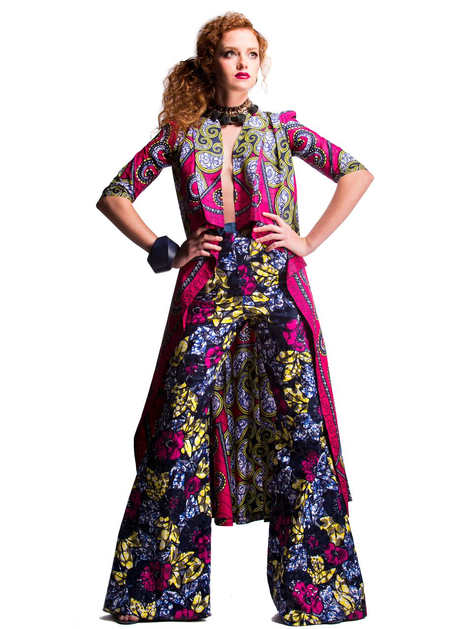 Garbed in -  - STYLENSPIRE Ankara Print SHADíA JACKET DRESS with Embellished Ankara Print BELL BOTTOMS