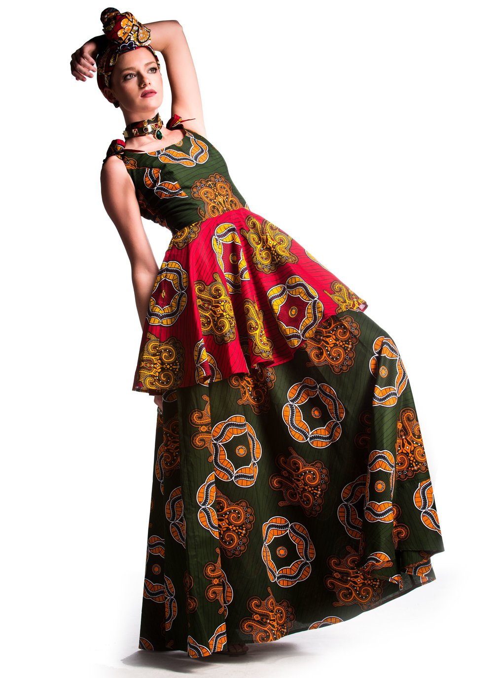 Style Form -  - STYLENSPIRE Ankara Print Kəko͞on Head Wrap and Ankara Print ATíNUKę TIERED DRESS