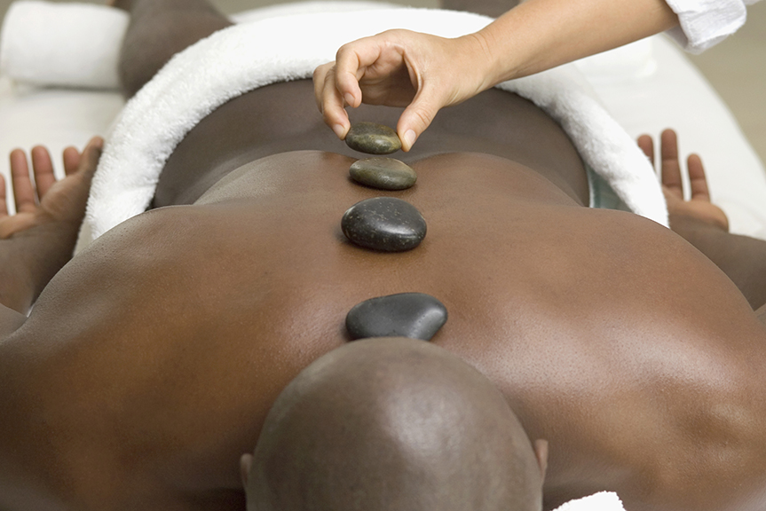 Hot Stone Massage   This specialty massage treatment uses smooth hot stones as an extension of their hands and by placing them on the body. Hot stone therapy eases stiff and tired muscles and increases circulation. The heat is deeply relaxing and it can warm up tissues so the therapist may work deeper if necessary.  Sessions available in:  30 minute $40  60 minute $65